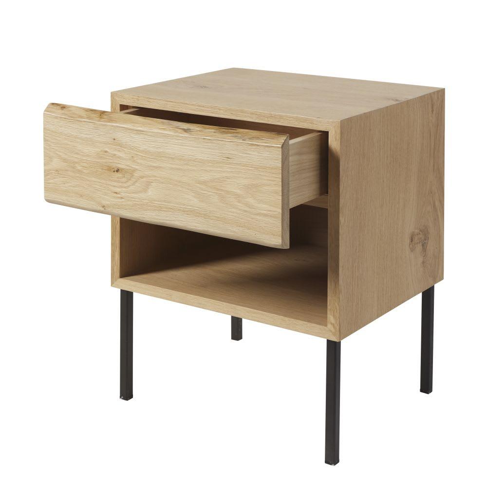 table de chevet en ch ne massif et m tal noir avec rangements magnus maisons du monde. Black Bedroom Furniture Sets. Home Design Ideas