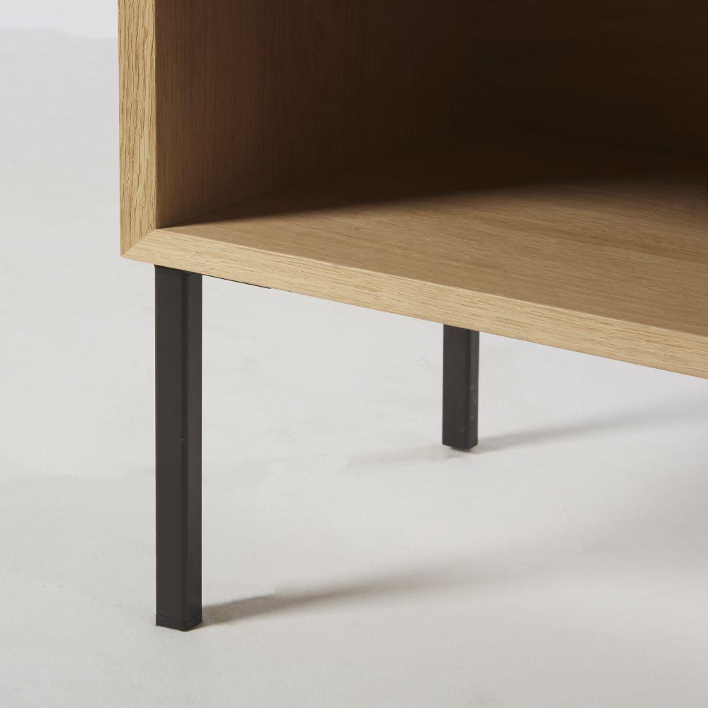 table de chevet en ch ne massif et m tal noir avec. Black Bedroom Furniture Sets. Home Design Ideas