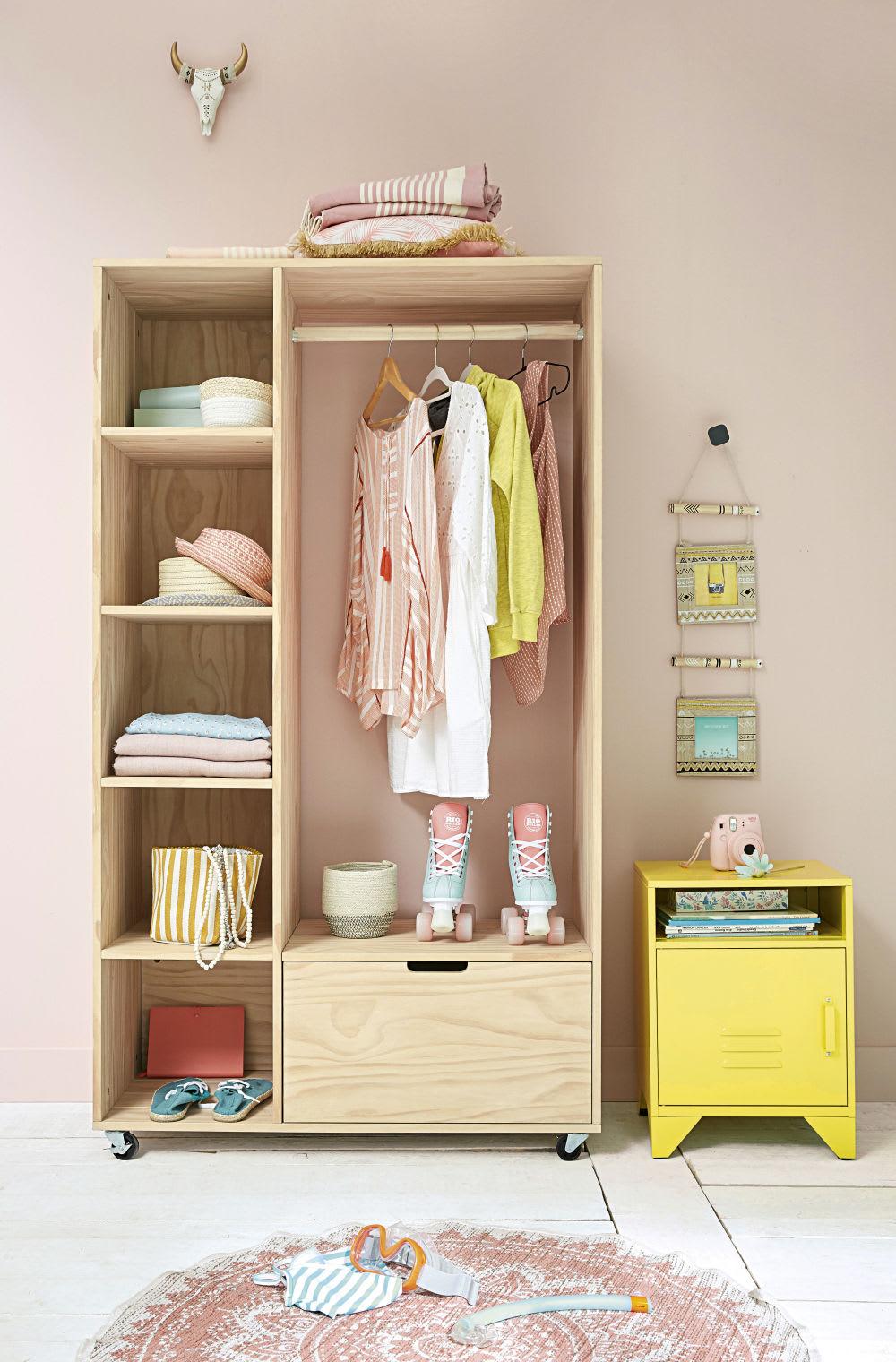 table de chevet en m tal jaune pastel sunset maisons du. Black Bedroom Furniture Sets. Home Design Ideas
