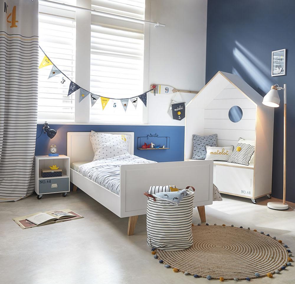 table de chevet en pin blanc et bleu imprim marin. Black Bedroom Furniture Sets. Home Design Ideas