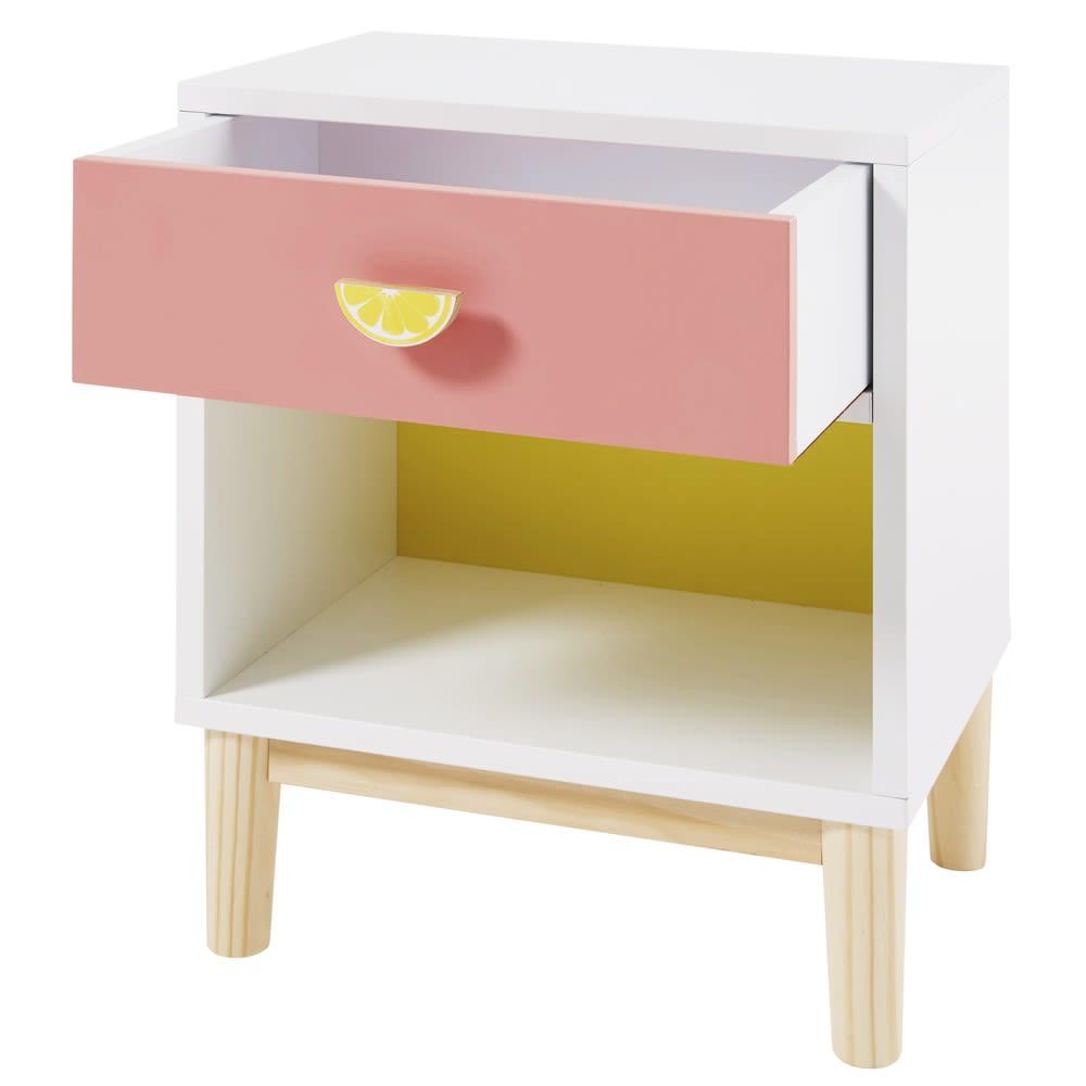 Table De Chevet Enfant Blanche Rose Et Jaune Tropicool Maisons Du