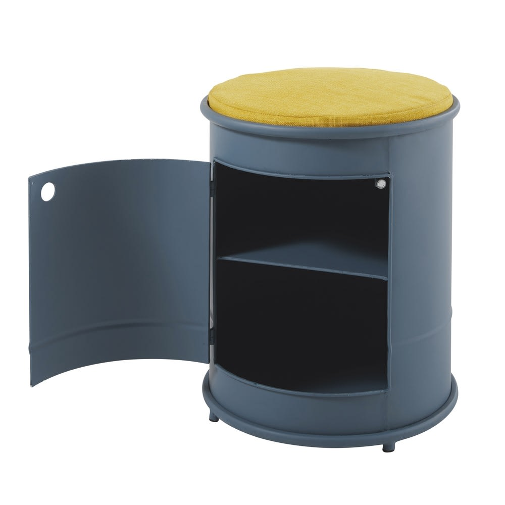 table de chevet et assise enfant en m tal bleu petit. Black Bedroom Furniture Sets. Home Design Ideas