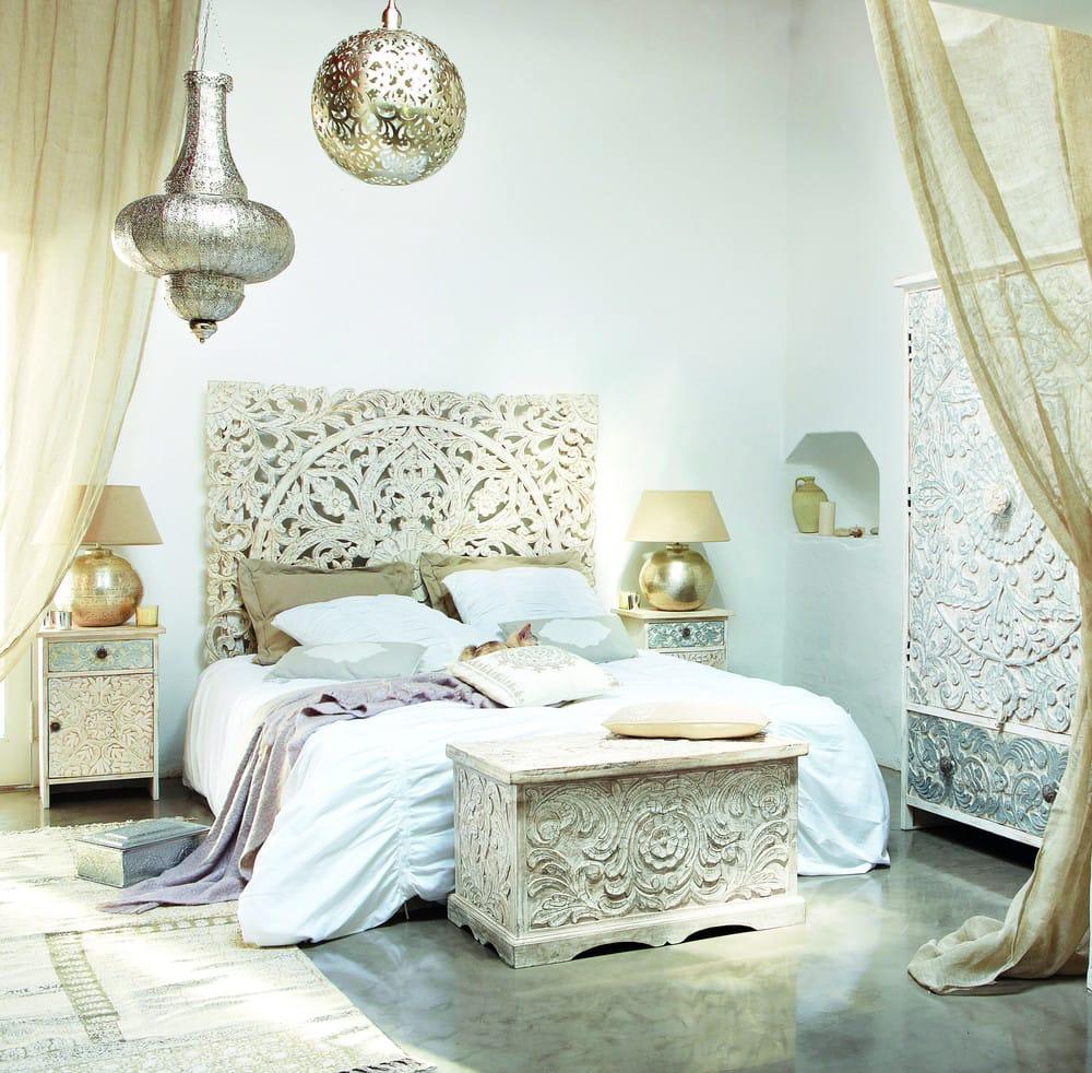 Table de chevet indienne sculptée en manguier massif blanche L 42 cm ...