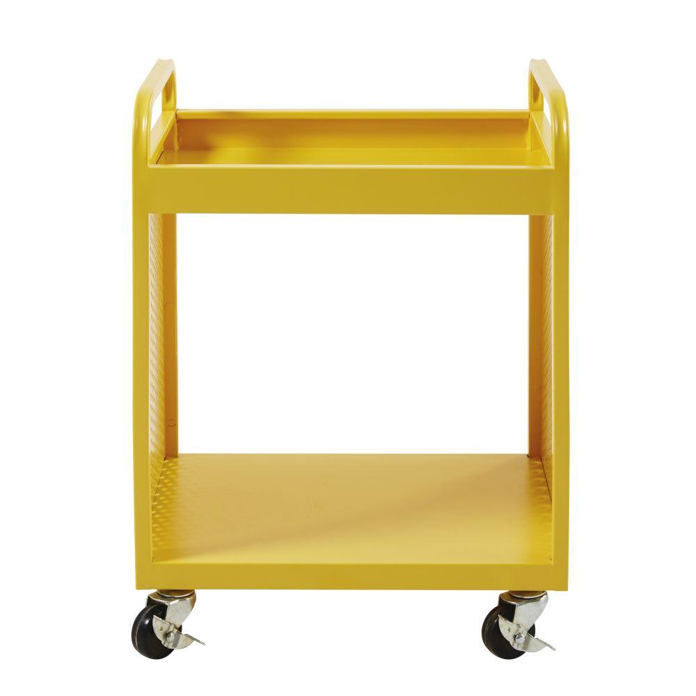 table de chevet indus roulettes en m tal jaune atelier. Black Bedroom Furniture Sets. Home Design Ideas