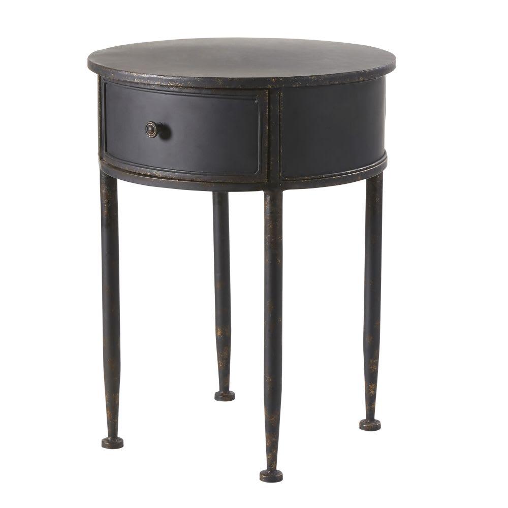 table de chevet ronde 1 tiroir en m tal noir alienor. Black Bedroom Furniture Sets. Home Design Ideas