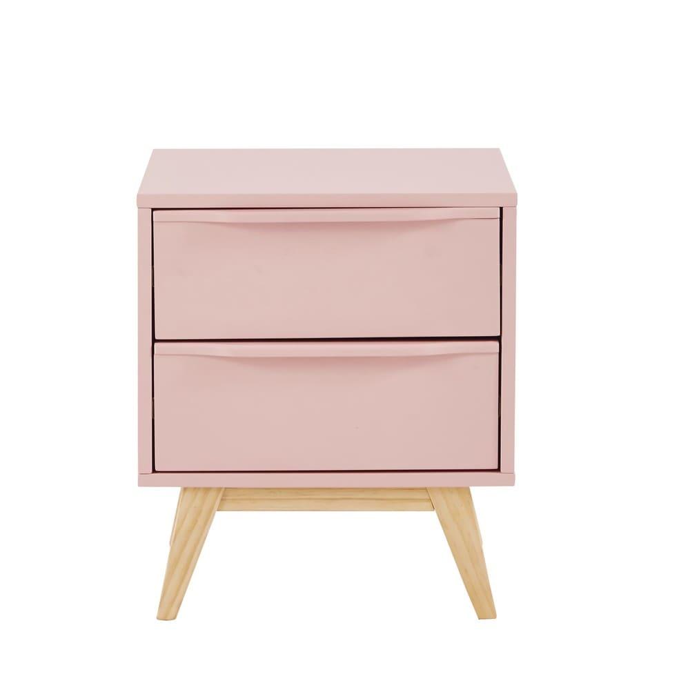 table de chevet vintage 2 tiroirs rose bucolique maisons. Black Bedroom Furniture Sets. Home Design Ideas