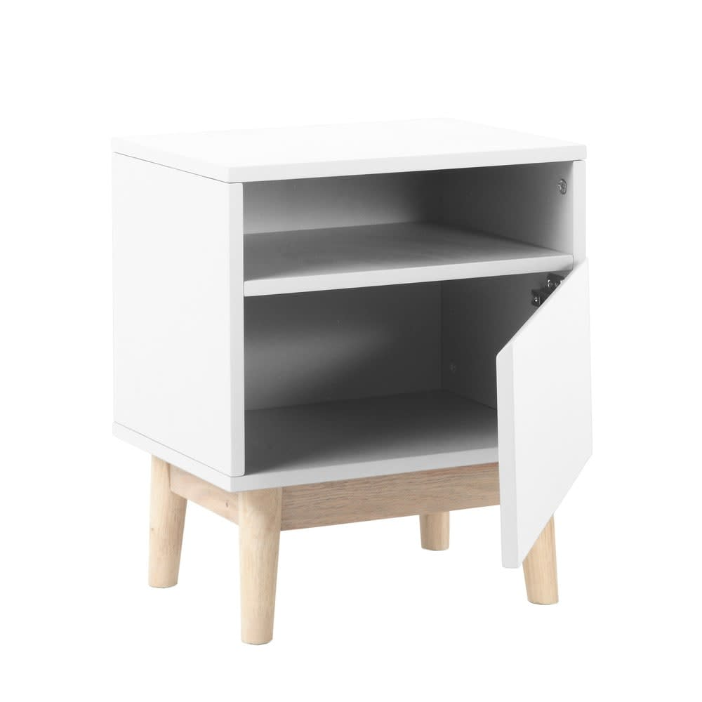 Table de chevet vintage blanche artic maisons du monde - Table de chevet moderne ...