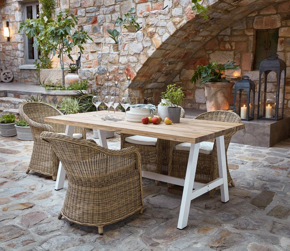 Table de jardin 6/8 personnes en acacia et métal blanc L180 ...