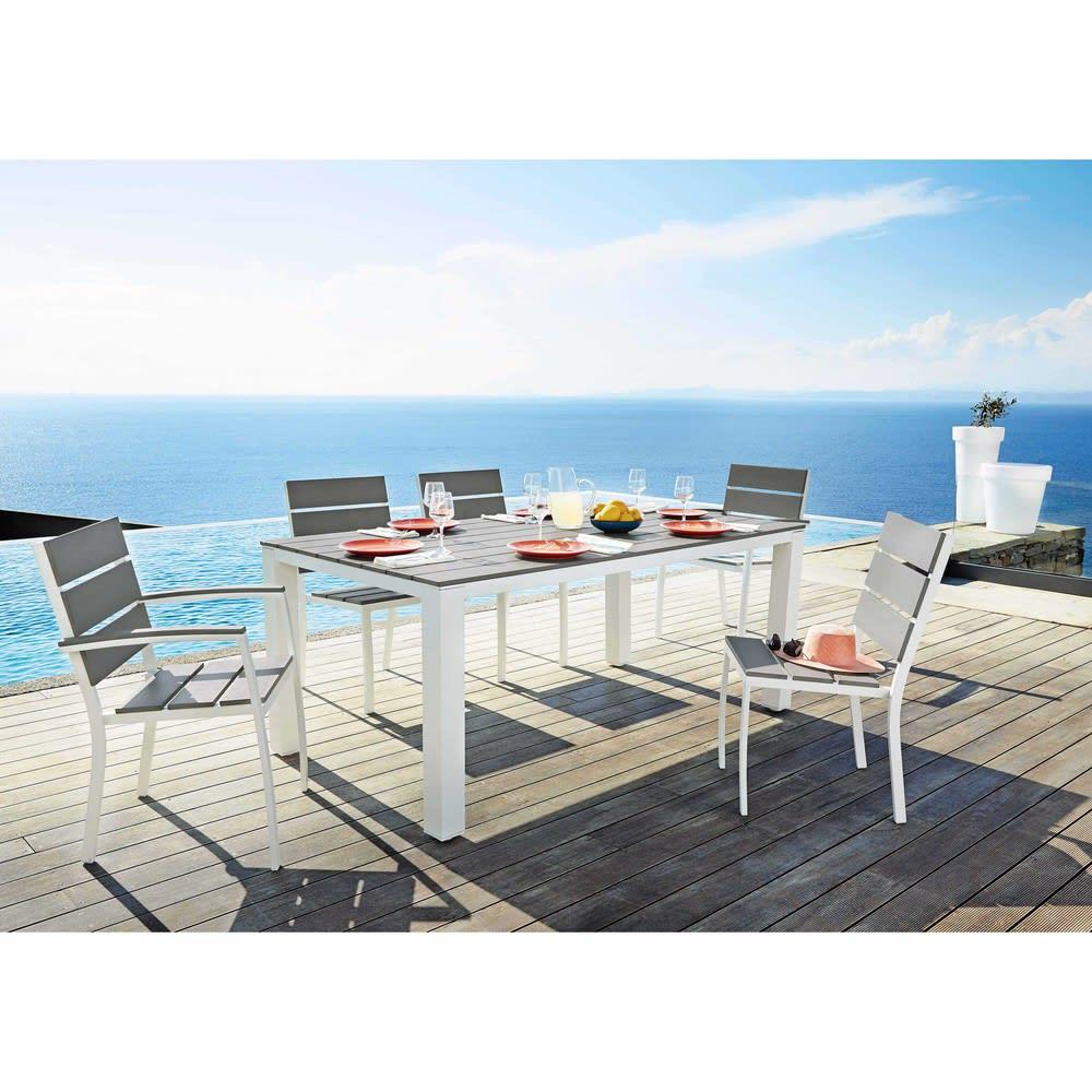 table de jardin 6 personnes en aluminium et composite l180. Black Bedroom Furniture Sets. Home Design Ideas