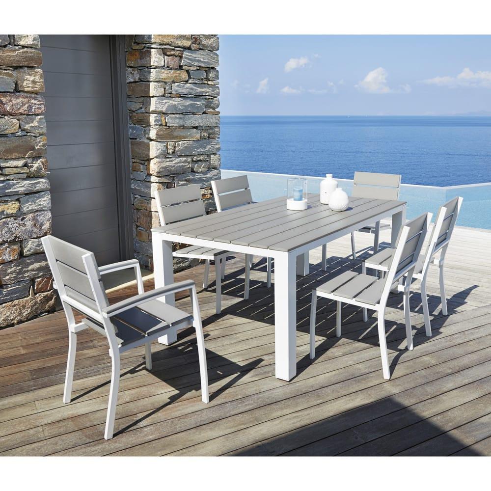 Table de jardin 6 personnes en aluminium et composite L180 Escale ...
