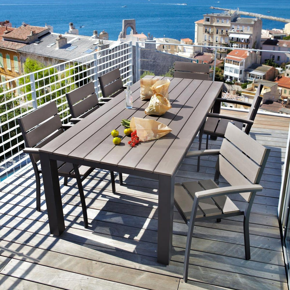 table de jardin 8 10 personnes en aluminium gris. Black Bedroom Furniture Sets. Home Design Ideas
