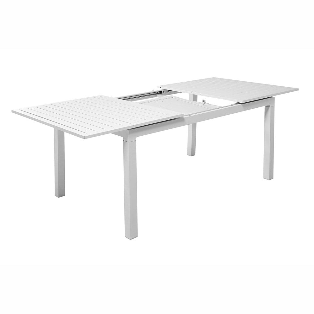 table de jardin rallonge en aluminium blanche l 160 l 210 cm extenso maisons du monde. Black Bedroom Furniture Sets. Home Design Ideas