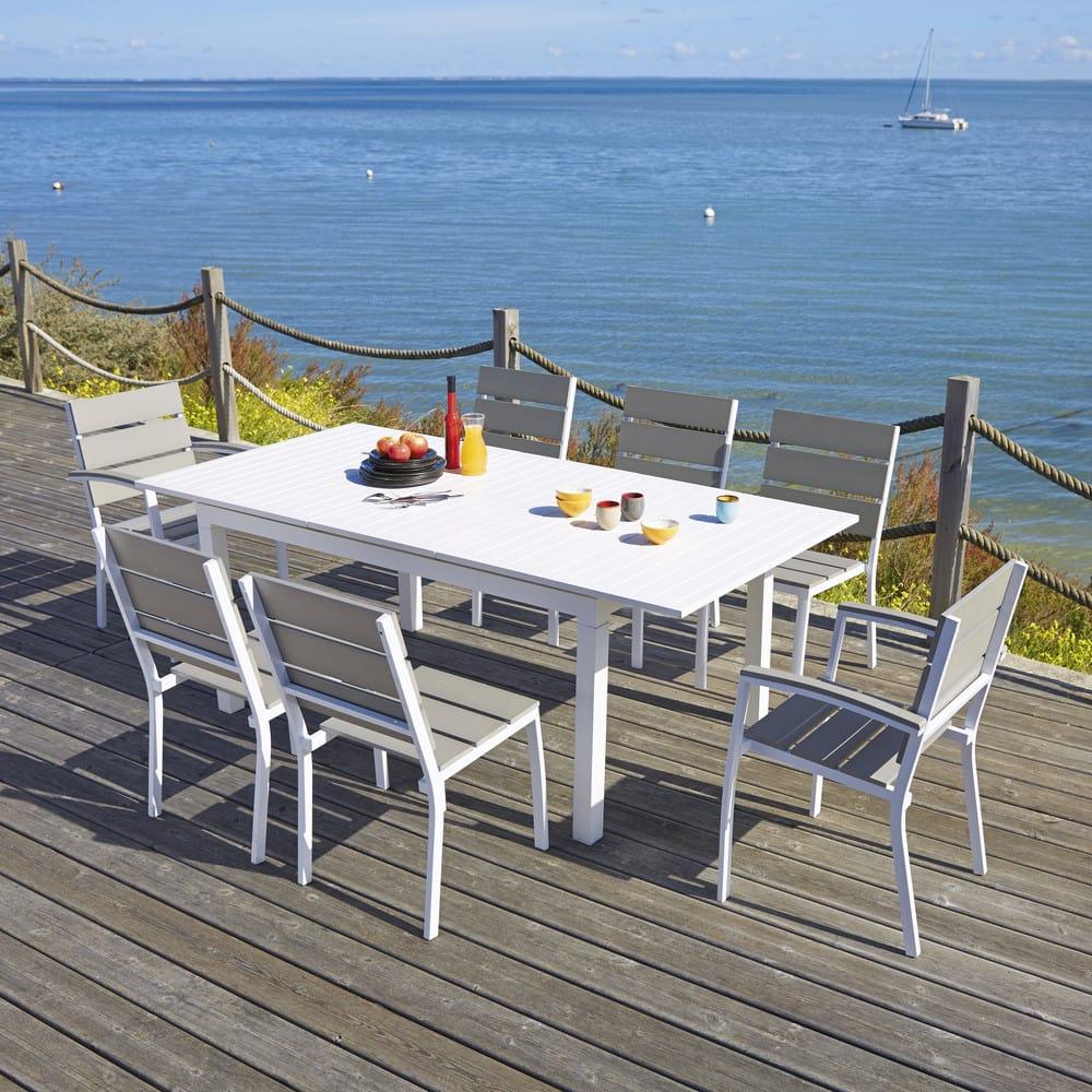 table de jardin rallonge en aluminium blanche l 160 l. Black Bedroom Furniture Sets. Home Design Ideas