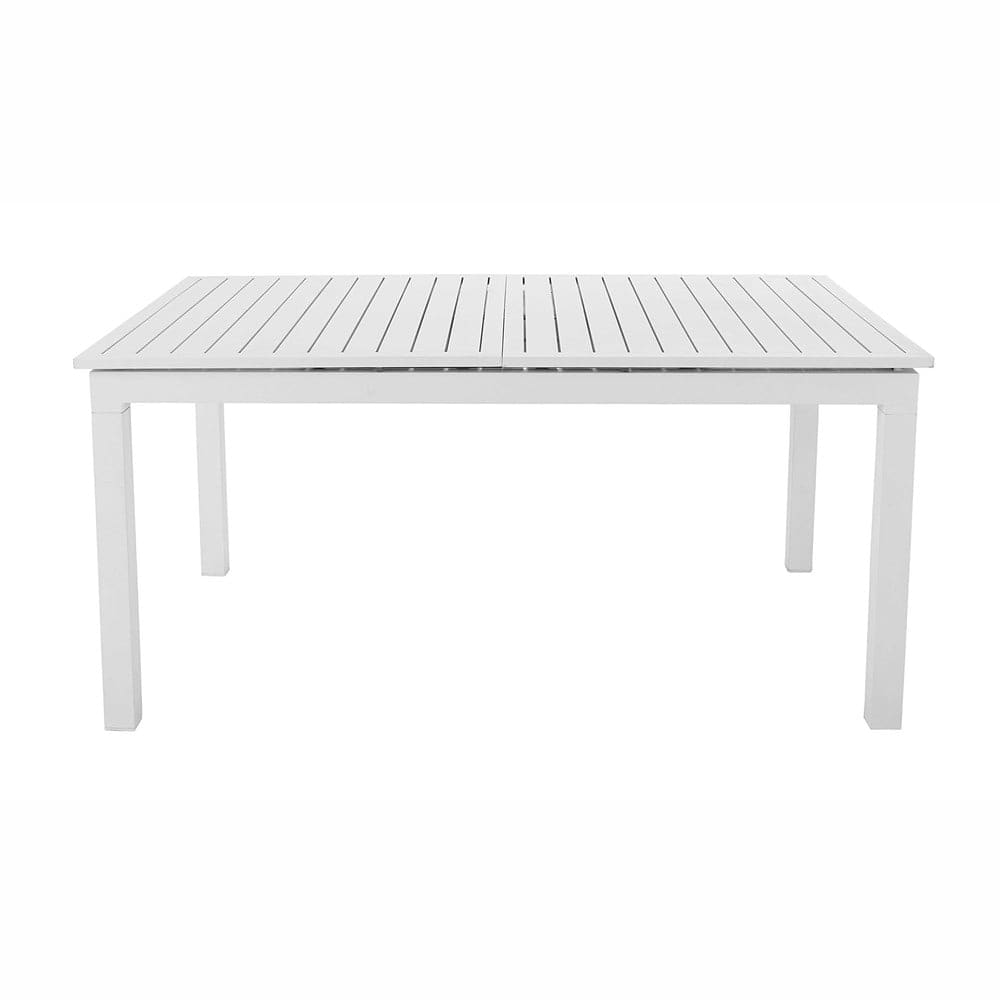 table de jardin rallonge en aluminium blanche l 160 l. Black Bedroom Furniture Sets. Home Design Ideas
