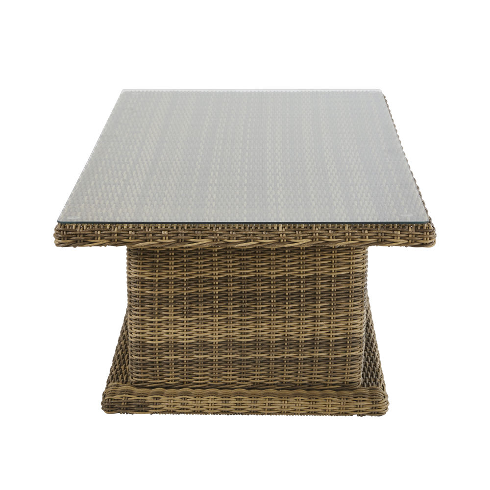 Table de jardin ajustable en résine et verre 6 personnes L155