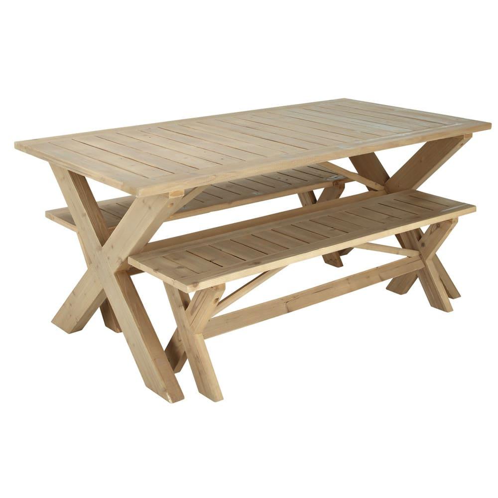 Table De Jardin Avec 2 Bancs En Sapin L150 Lacanau Maisons Du Monde