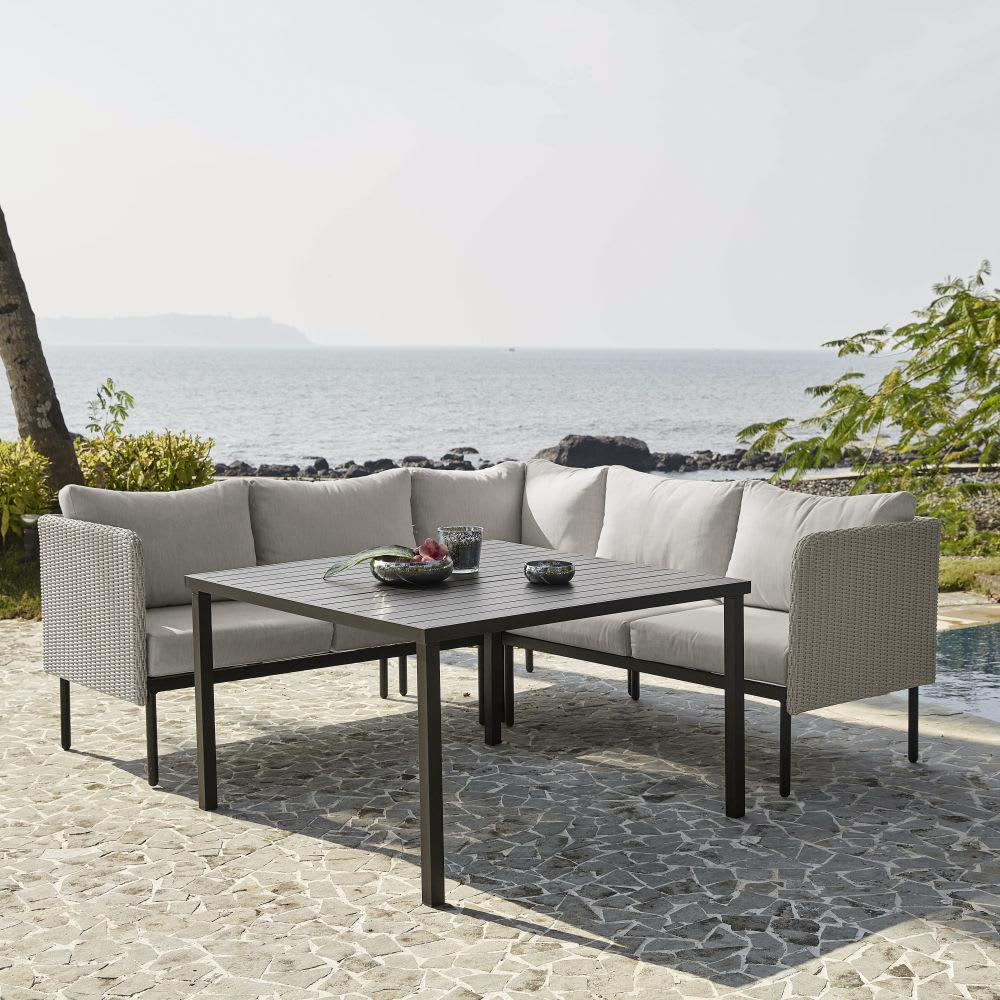 Table de jardin avec canap d 39 angle en aluminium et r sine tress e maisons du monde - Canape jardin aluminium ...