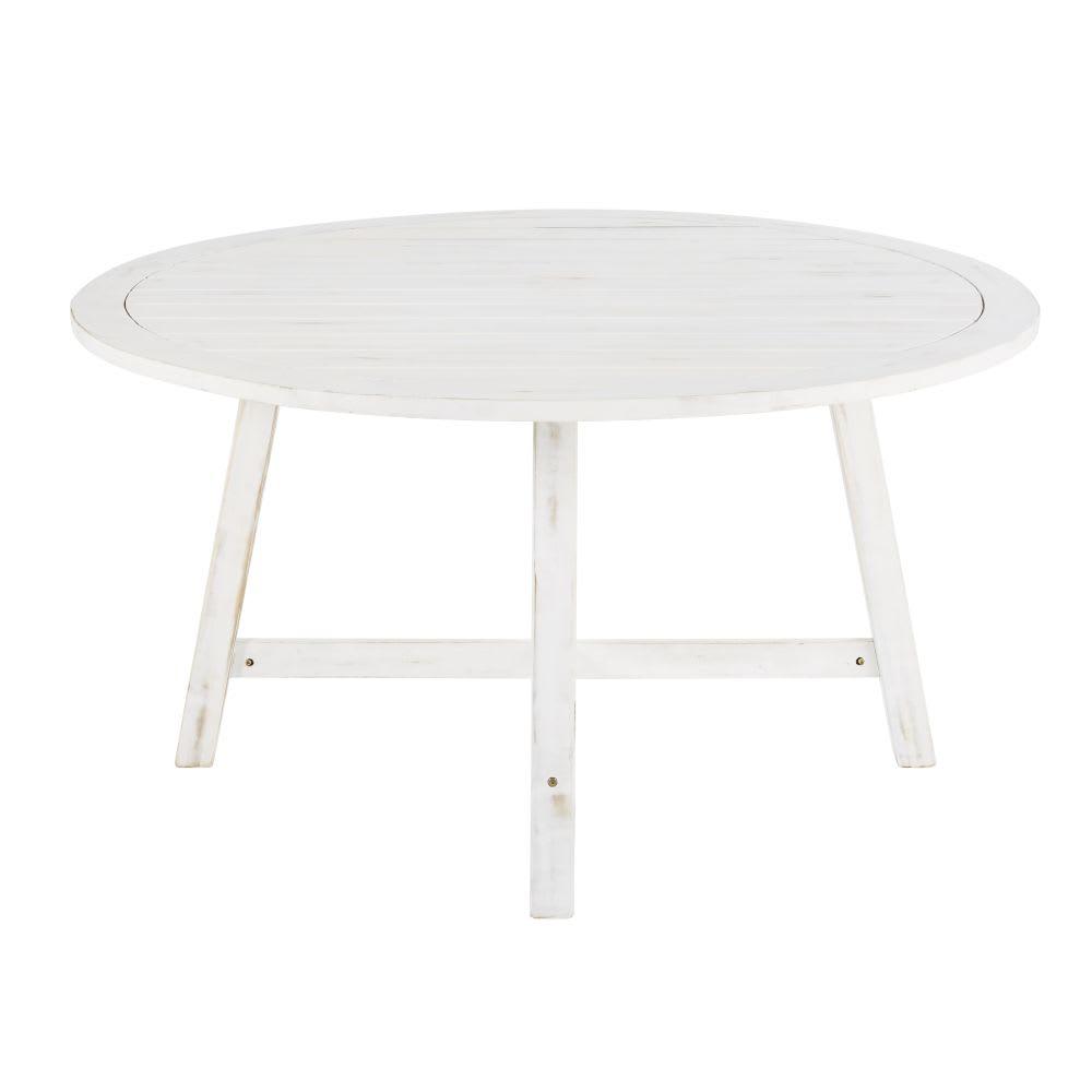 Table de jardin en acacia massif blanc 4/6 personnes D140 Lisboa ...