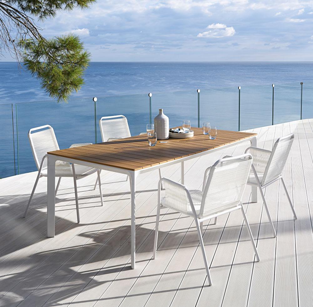 table de jardin en aluminium blanc 6 8 personnes l200 fuji. Black Bedroom Furniture Sets. Home Design Ideas