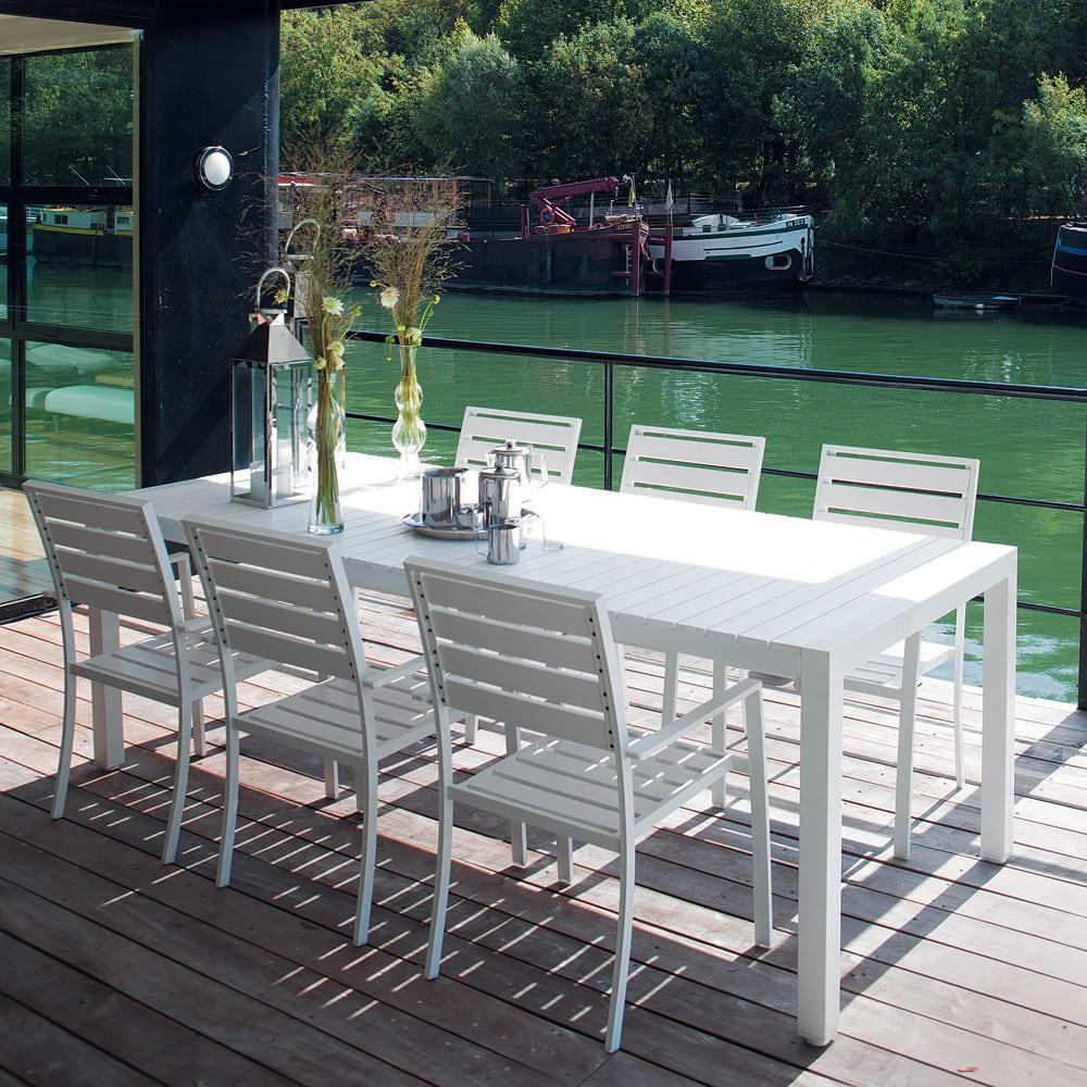 Table de jardin en aluminium blanc L 230 cm Portofino | Maisons du Monde