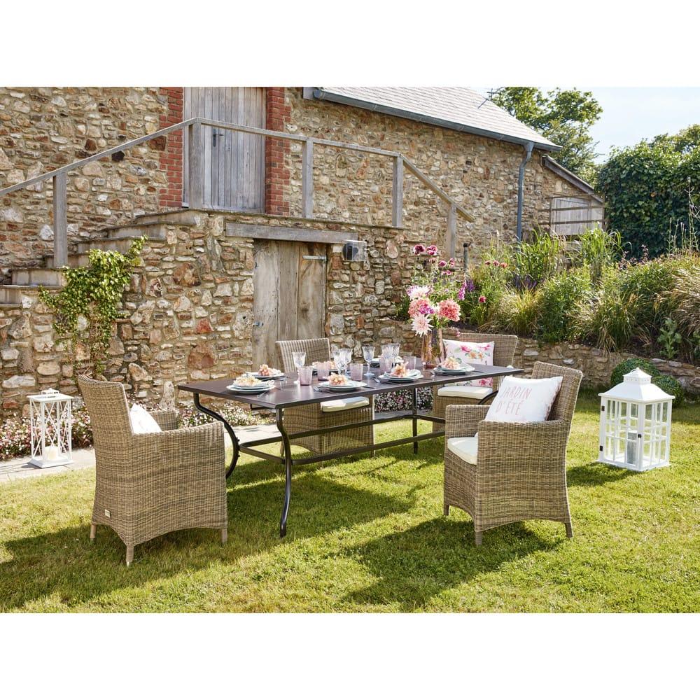 table de jardin en fer forg marron 6 8 personnes l200 alpilles maisons du monde. Black Bedroom Furniture Sets. Home Design Ideas