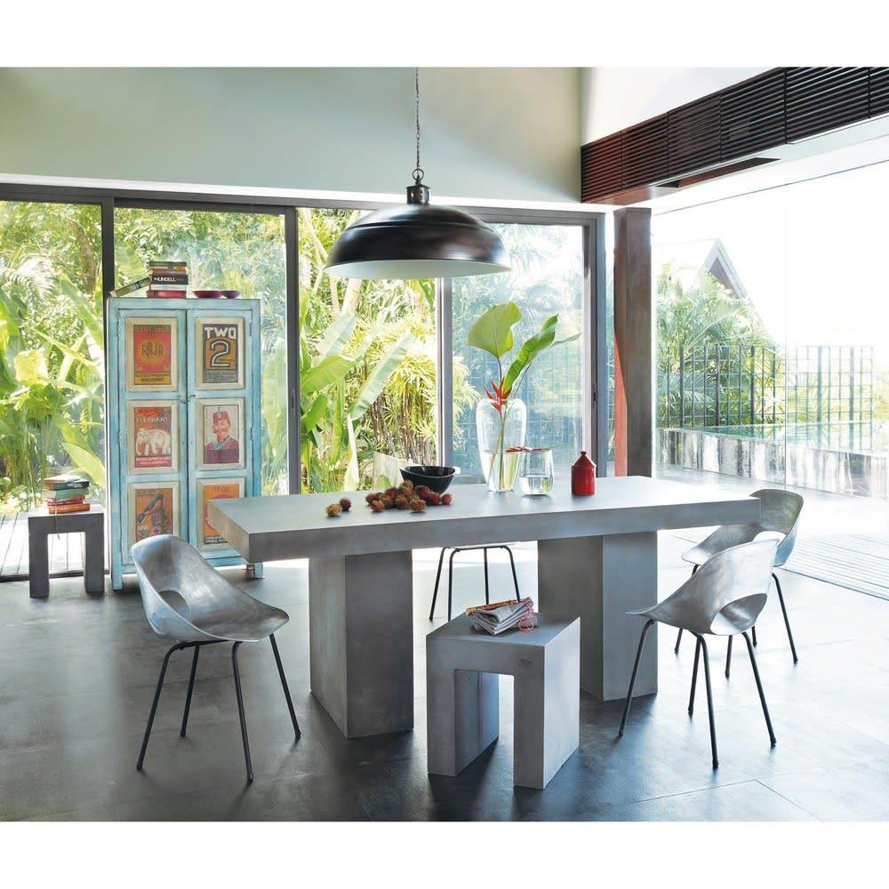 Table de jardin en magn sie effet b ton 8 10 personnes l200 mineral maisons du monde - Table jardin beton ...