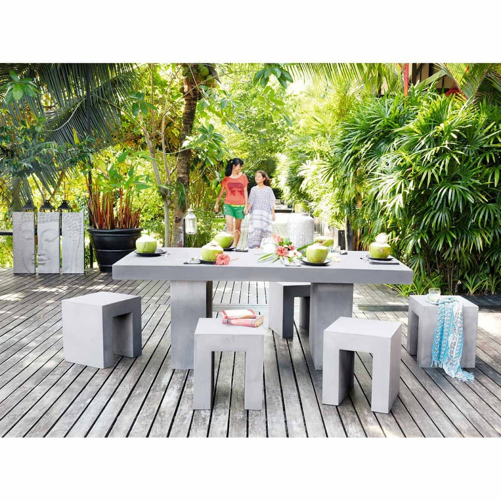 table de jardin en magn sie effet b ton 8 10 personnes l200 mineral maisons du monde. Black Bedroom Furniture Sets. Home Design Ideas