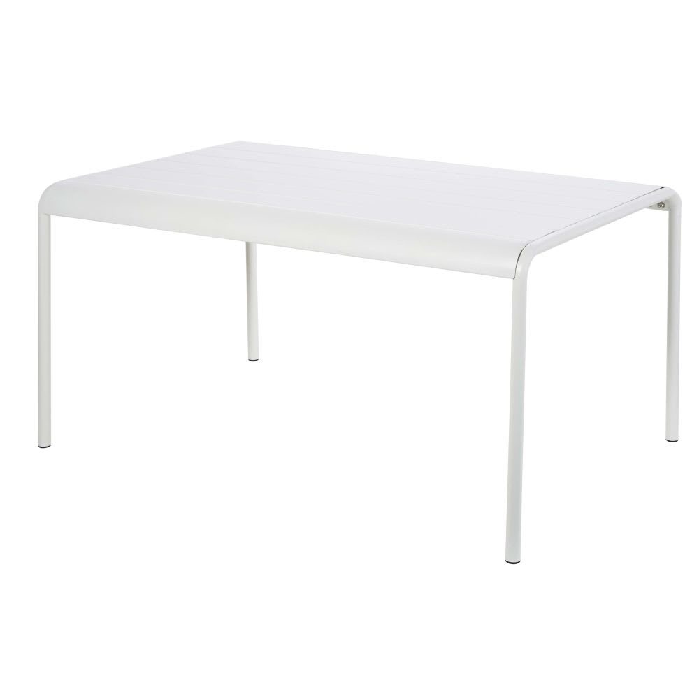 Table de jardin en métal blanc 4/6 personnes L140 Batignolles ...