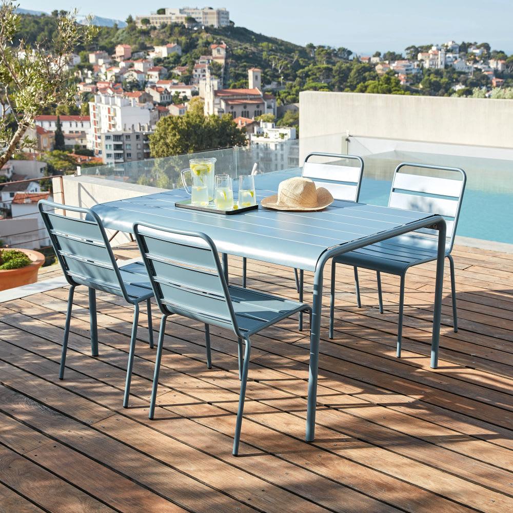 table de jardin en m tal bleu gris 4 6 personnes l140. Black Bedroom Furniture Sets. Home Design Ideas
