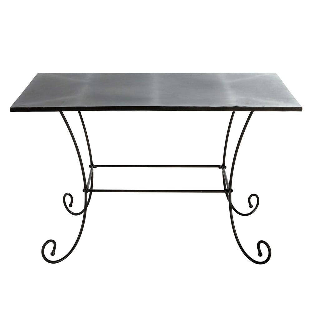 Table de jardin en métal et fer forgé marron L 125 cm St Germain ...