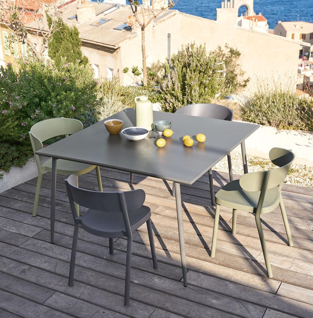 table de jardin en m tal gris anthracite 8 personnes l120. Black Bedroom Furniture Sets. Home Design Ideas