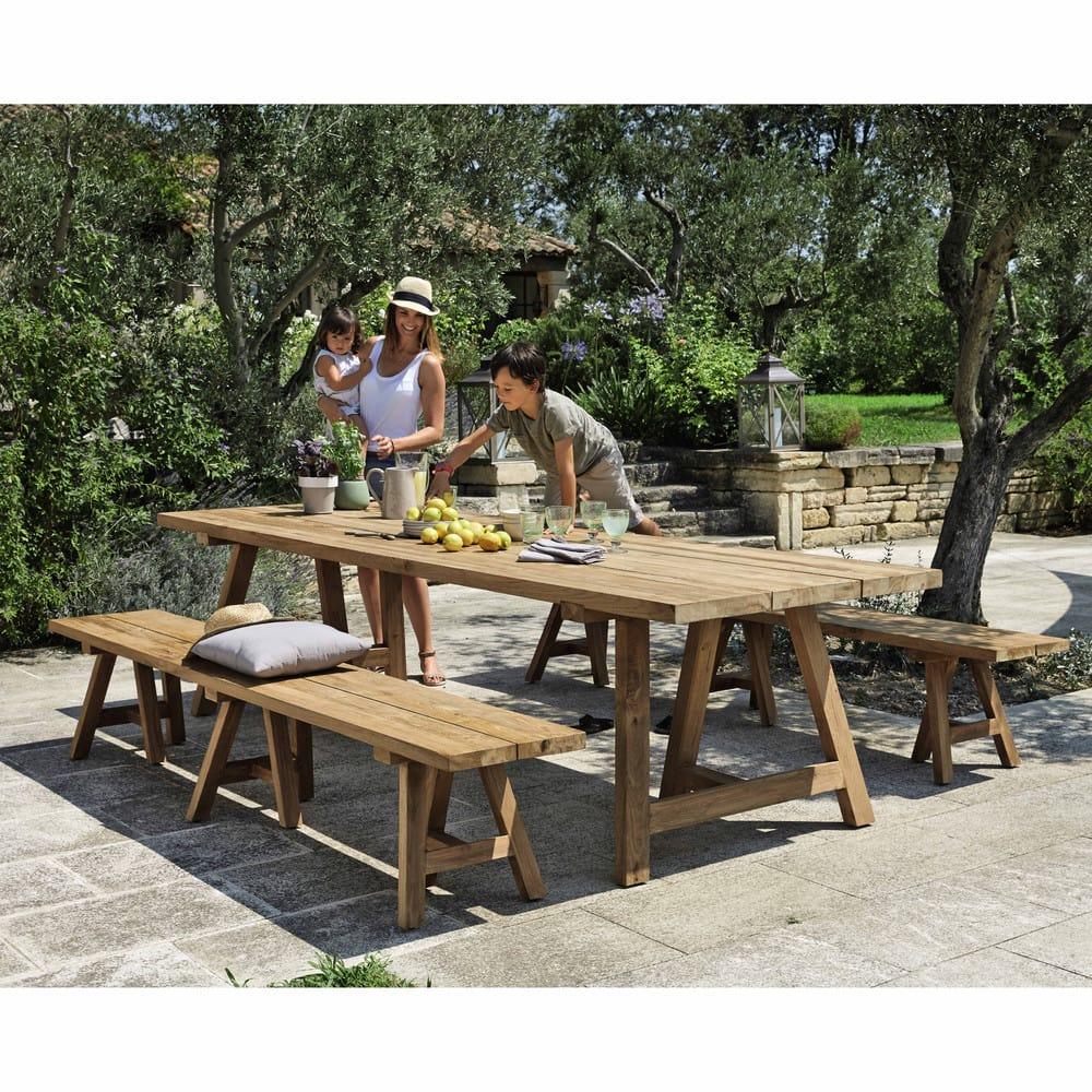Table de jardin en teck recyclé 12/14 personnes L300 Tecka | Maisons ...