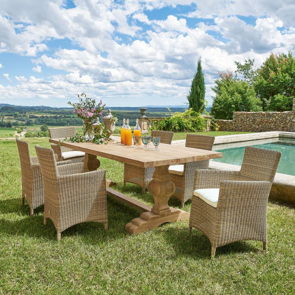 table de jardin en teck recycl l240 sienne maisons du monde. Black Bedroom Furniture Sets. Home Design Ideas