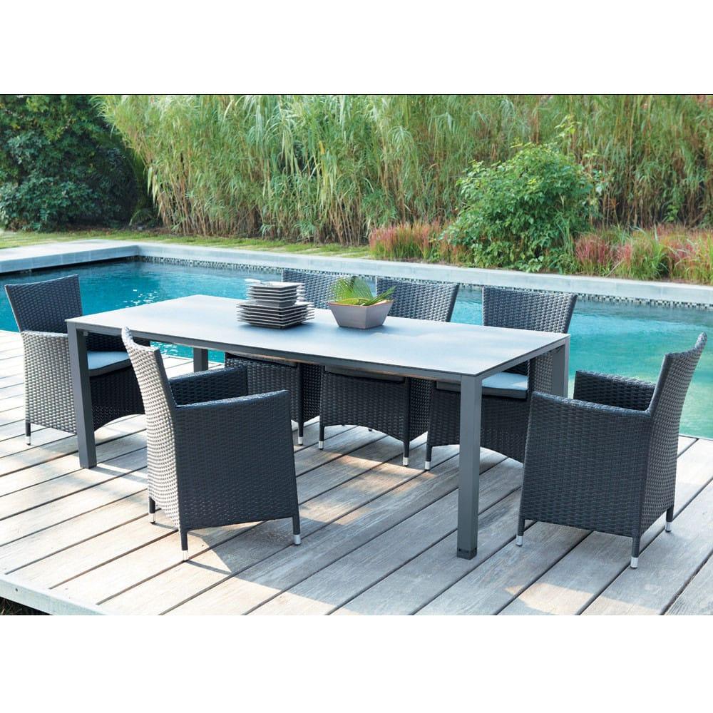 table de jardin en verre tremp et aluminium anthracite l 220 cm square garden maisons du monde. Black Bedroom Furniture Sets. Home Design Ideas