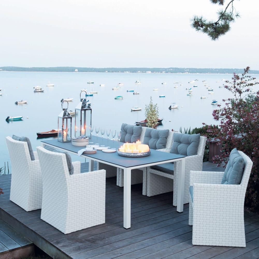 table de jardin en verre tremp et aluminium blanc l220 square garden maisons du monde. Black Bedroom Furniture Sets. Home Design Ideas