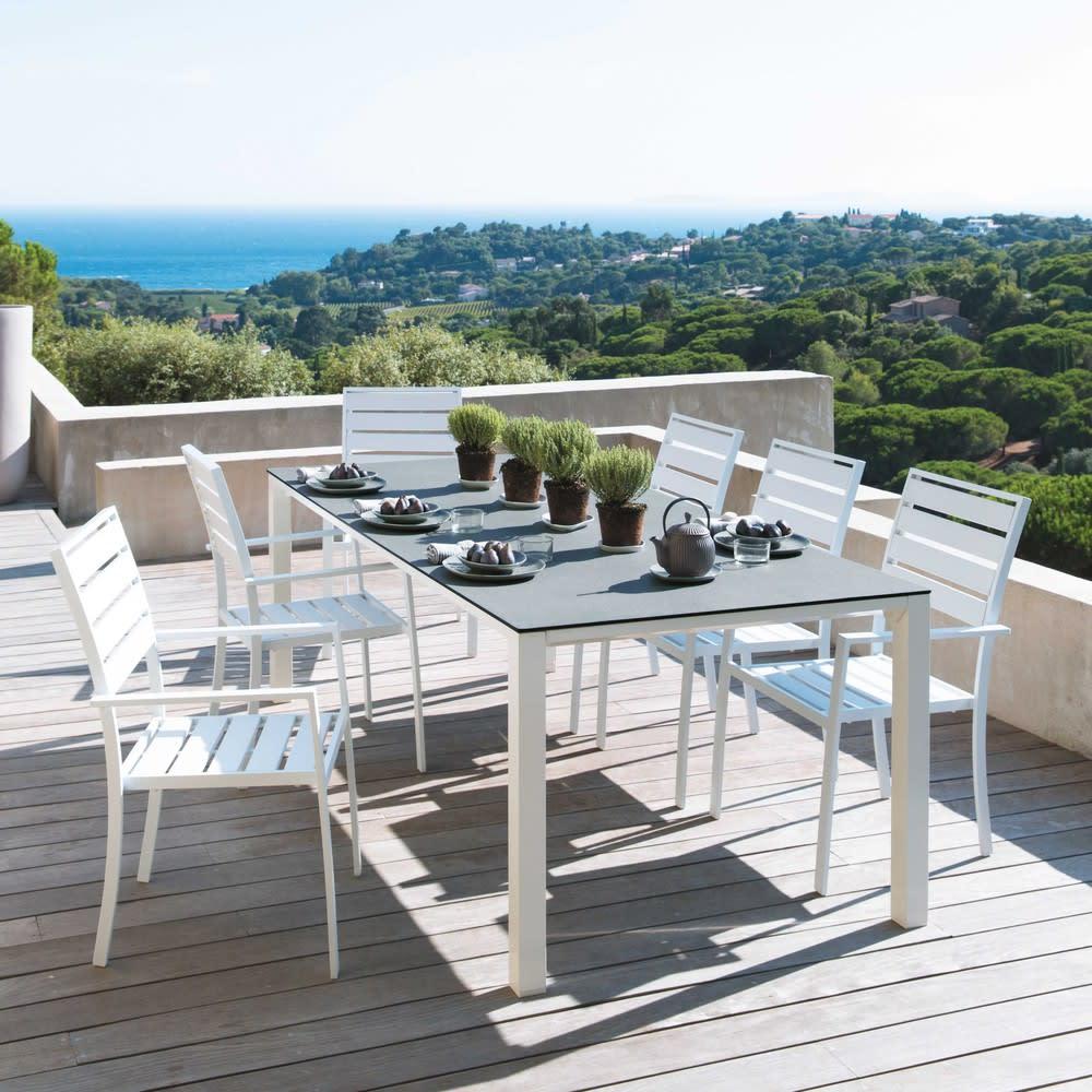 Table de jardin en verre trempé et aluminium blanc L220 Square ...