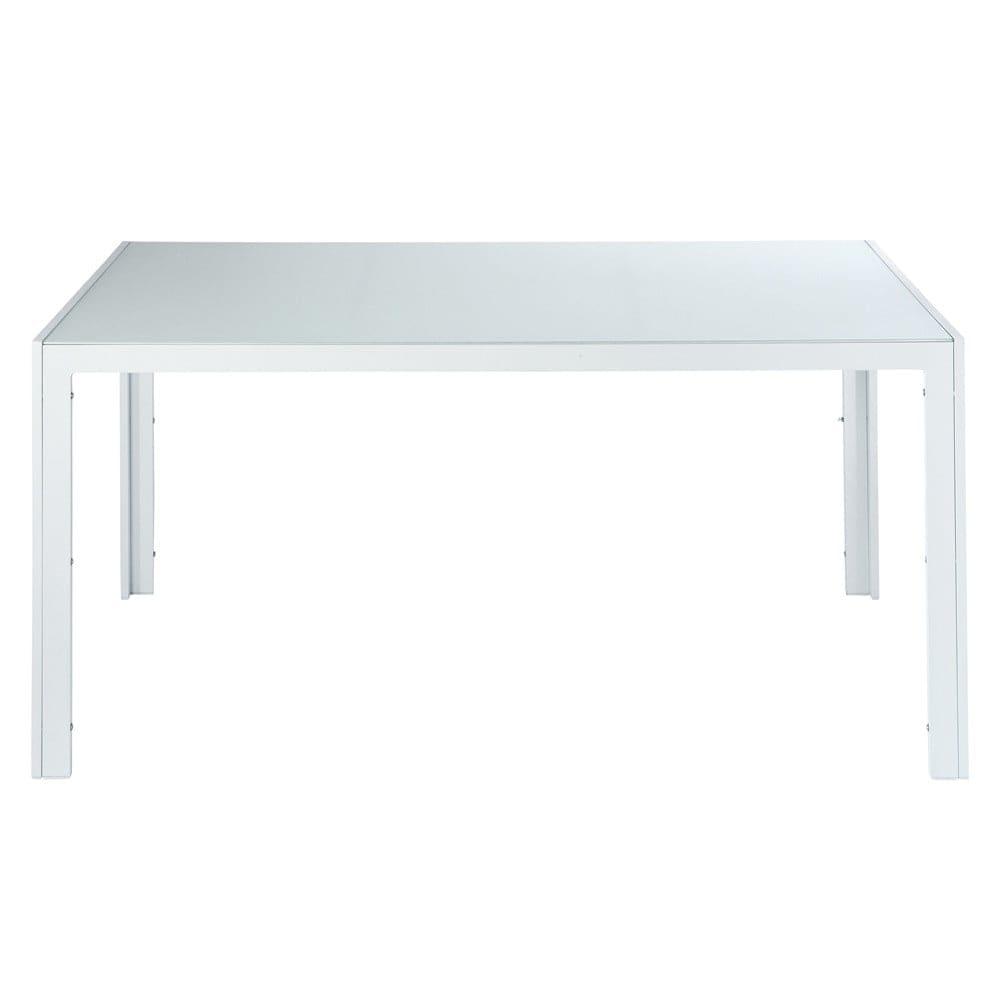 Table de jardin en verre trempé et aluminium blanche L 160 cm ...