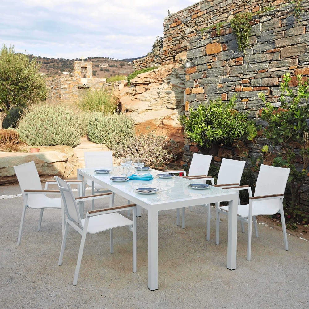 Table de jardin en verre trempé et aluminium blanche L 210 cm ...