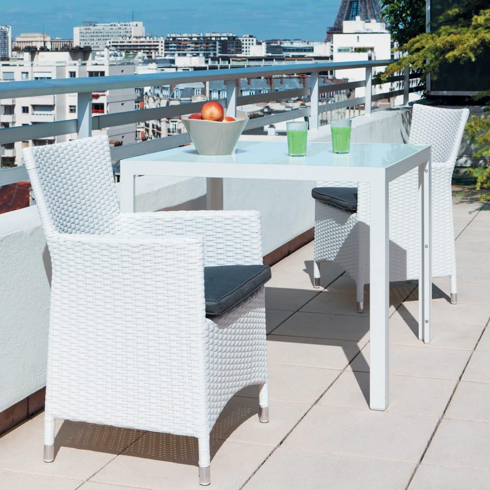 Table de jardin en verre trempé et aluminium blanche L 90 cm ...