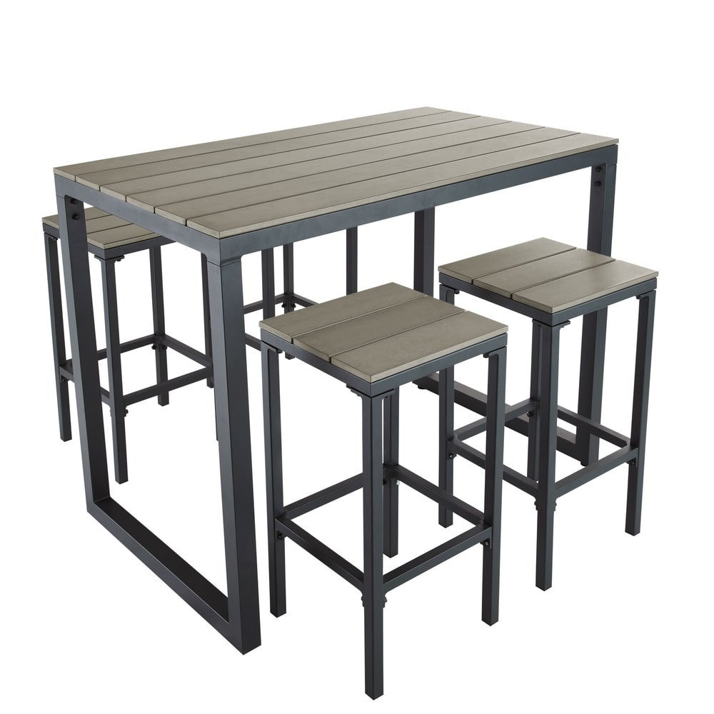 Table de jardin haute avec 4 tabourets L128 Escale | Maisons du Monde