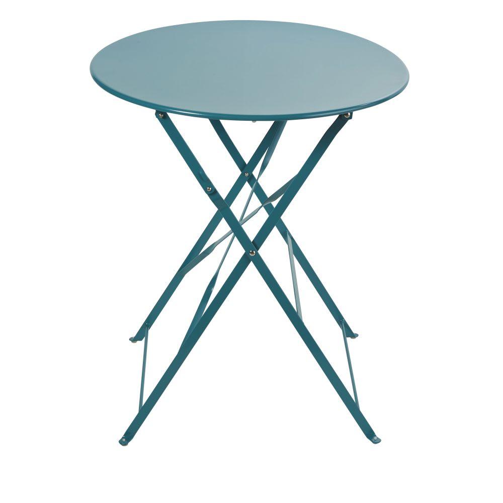 Table de jardin pliante en métal bleu canard 2 personnes D58 ...