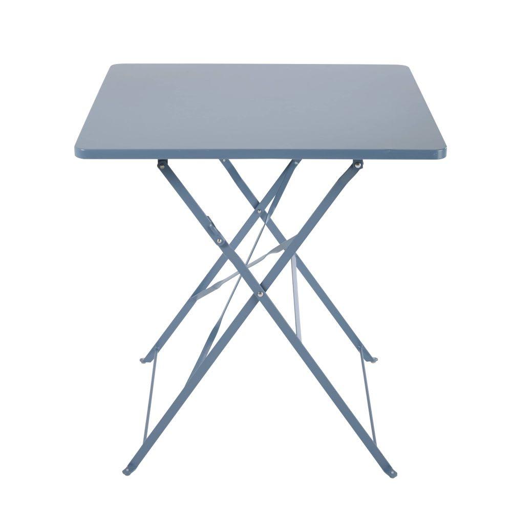 Table de jardin pliante en métal bleu gris 2 personnes L70 ...