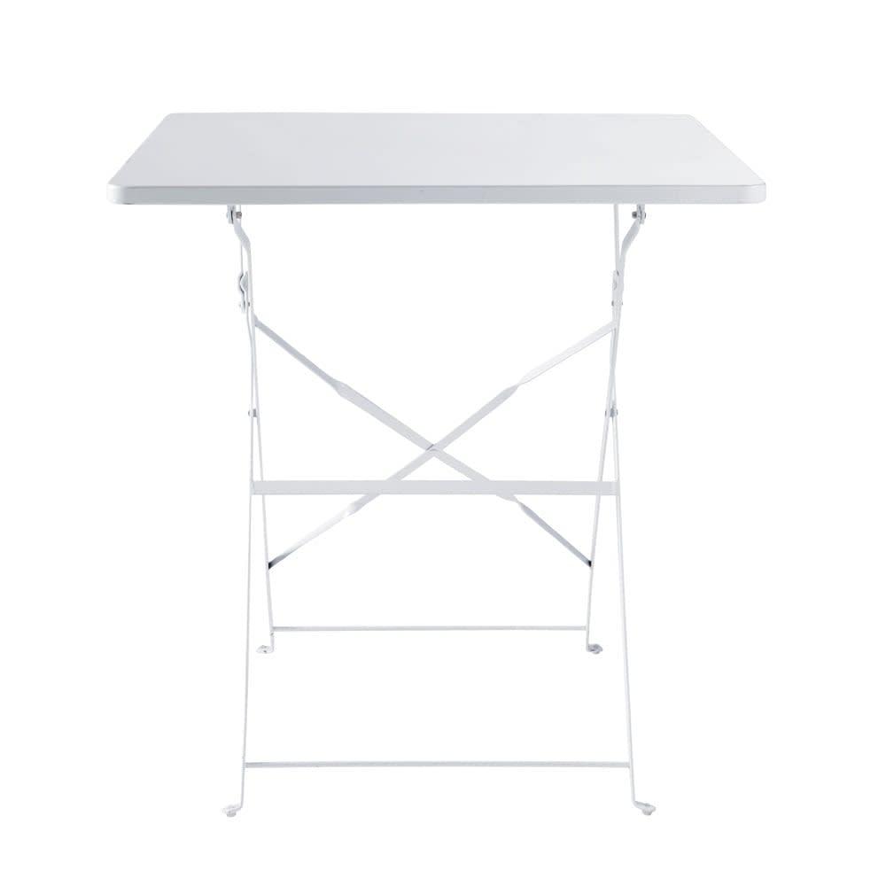 Table de jardin pliante en métal époxy blanc 2 personnes L70 ...