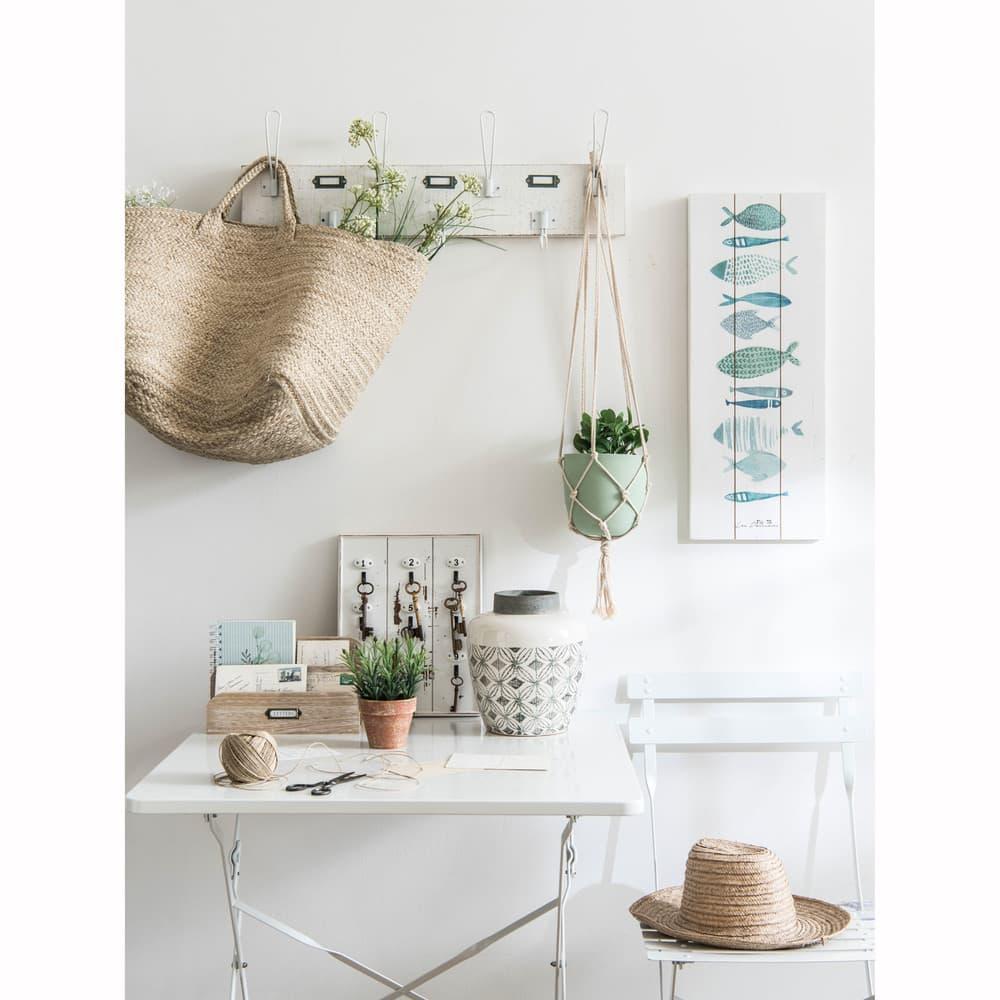 Table de jardin pliante en métal époxy blanc 2 personnes L70