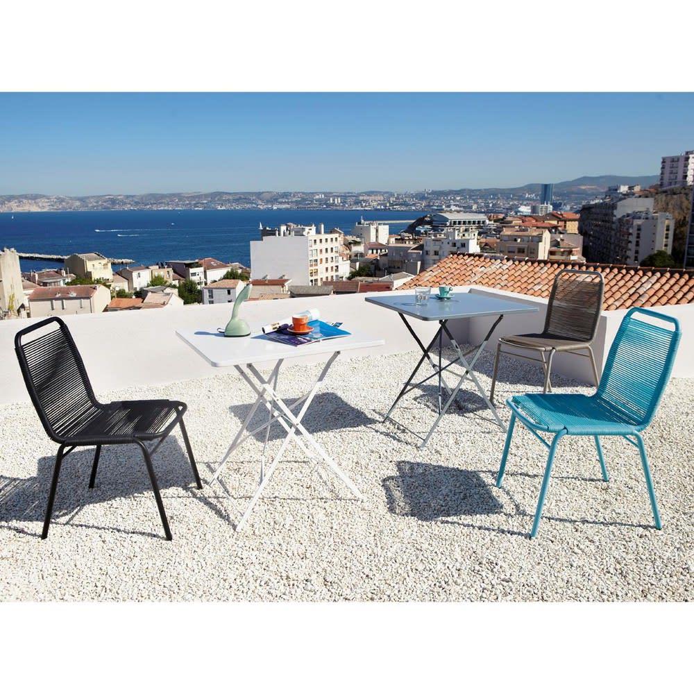 Table de jardin pliante en m tal poxy gris 2 personnes l70 guinguette maisons du monde for Table pliante 2 personnes