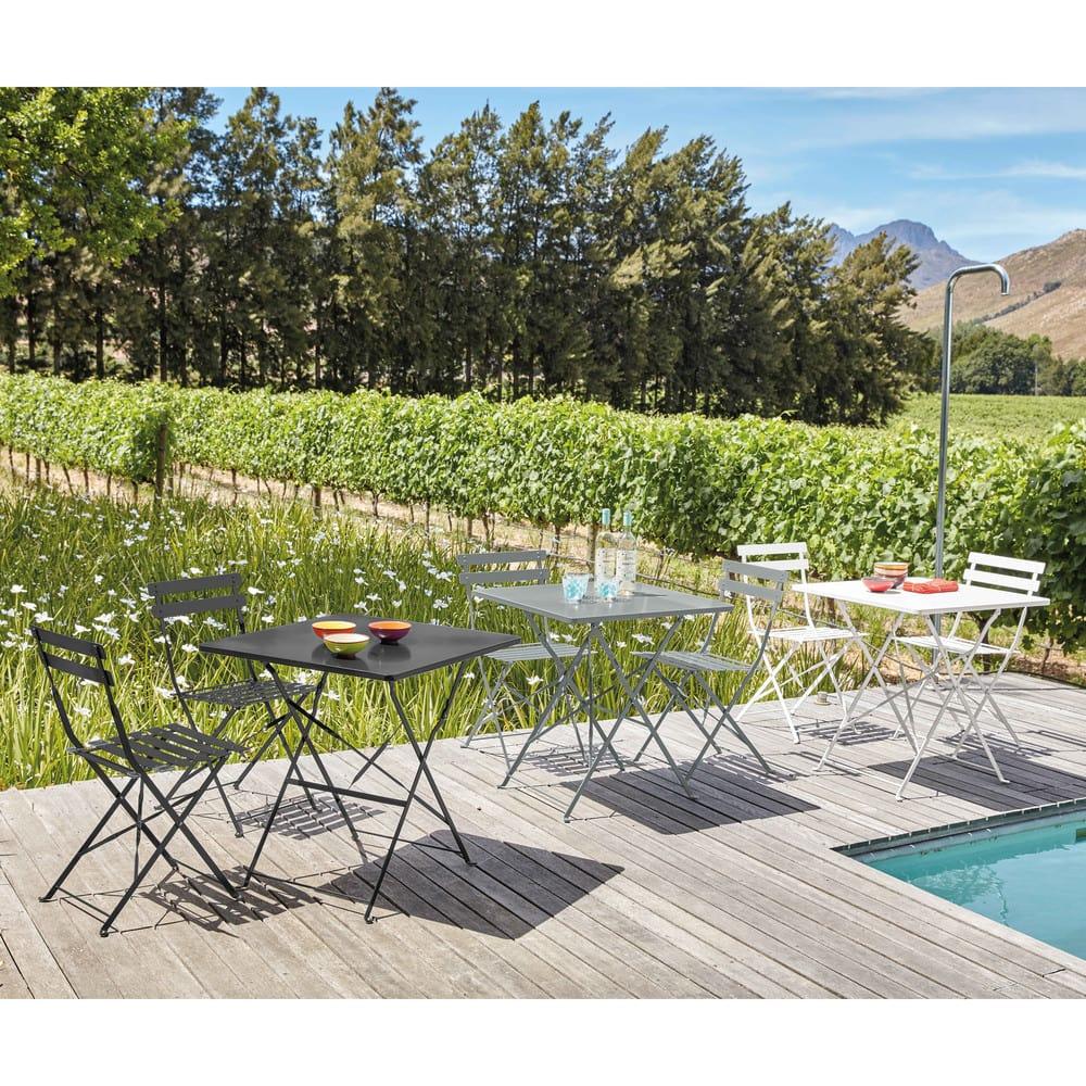 table de jardin pliante en m tal poxy gris 2 personnes. Black Bedroom Furniture Sets. Home Design Ideas