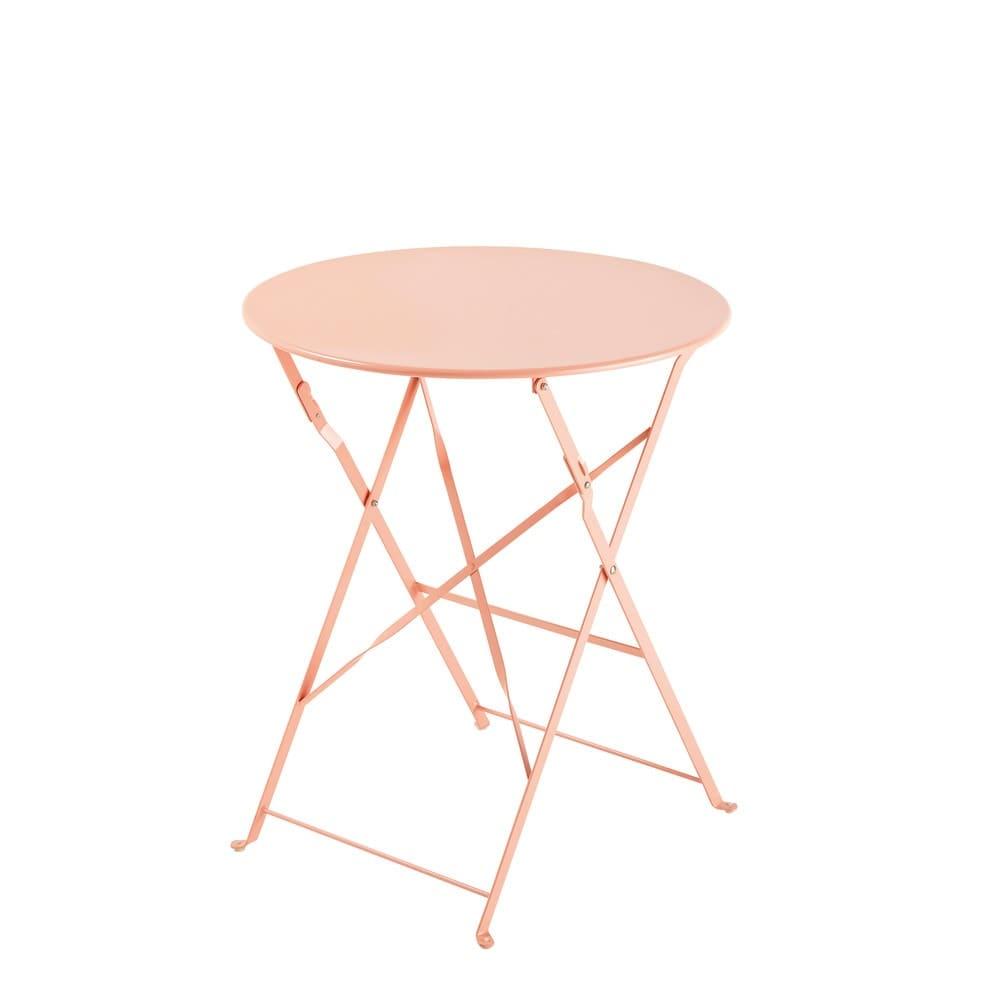 Table de jardin pliante en métal rose D58 Guinguette | Maisons du Monde