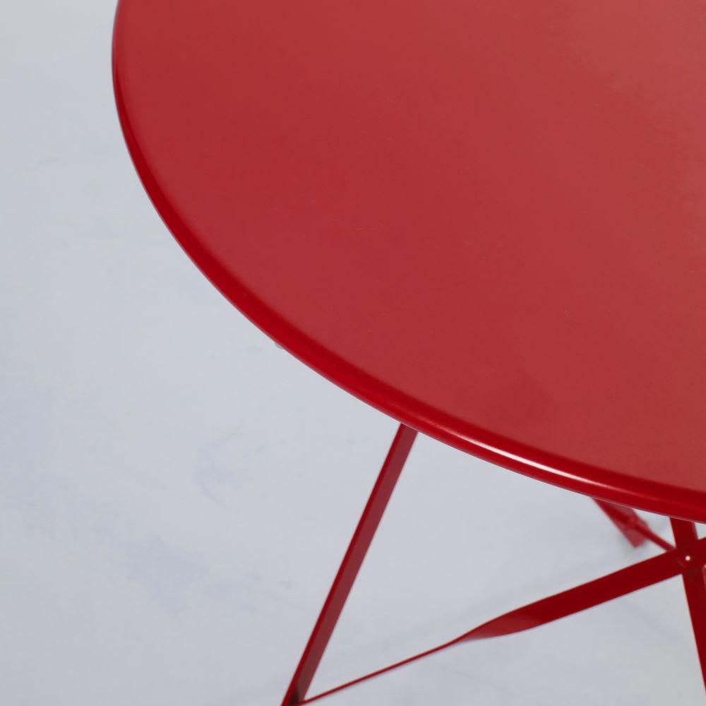 Table de jardin pliante en métal rouge 2 personnes D58 Guinguette ...