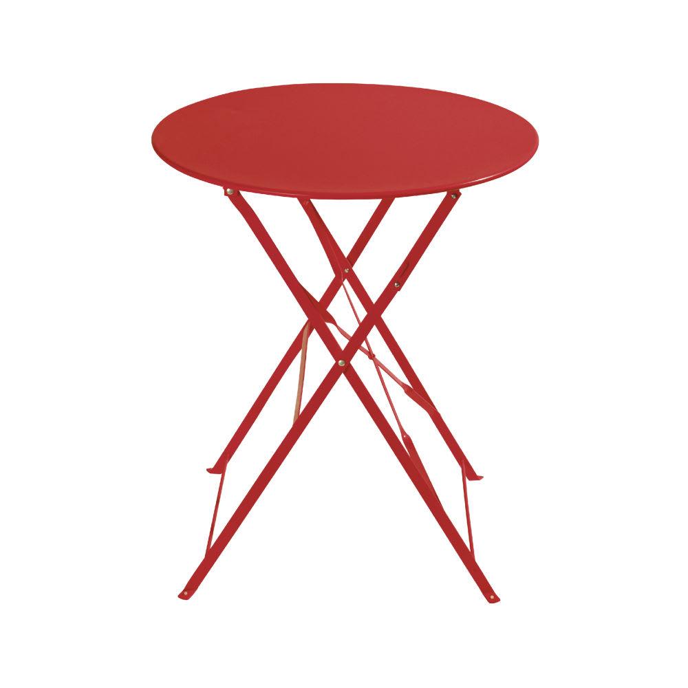 table de jardin pliante en m tal rouge 2 personnes d58. Black Bedroom Furniture Sets. Home Design Ideas