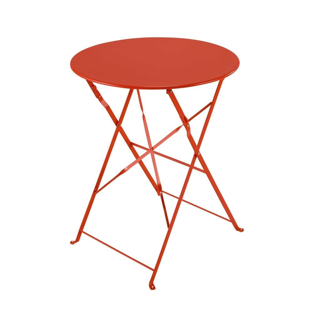 Table de jardin pliante en métal rouge framboise Guinguette ...